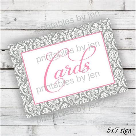 printable wedding card box sign instant download wedding card box sign in coral pink