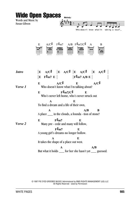 Wide Open Spaces Guitar Chords