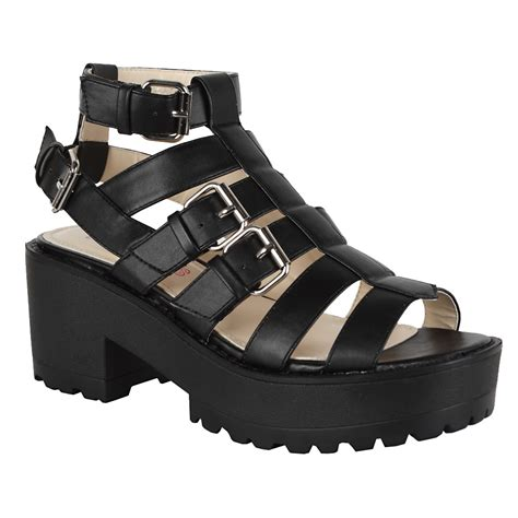 black strappy gladiator sandals womens black strappy chunky cleated sole gladiator