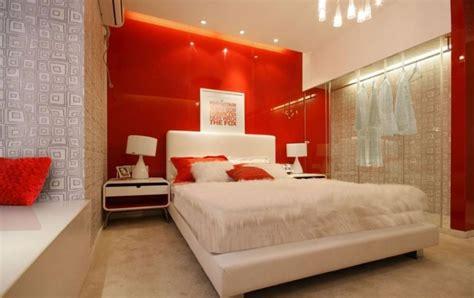 Red Main Wall Of Bedroom Interior Design