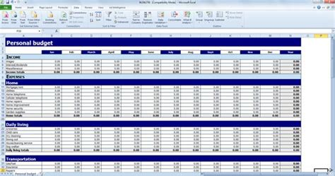 financial budget template excel free personal budget template for excel