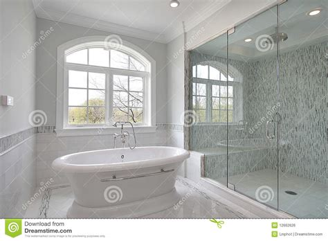 Large Bathroom Showers Master Bath With Large Glass Shower Stock Photo Cartoondealer 13028952