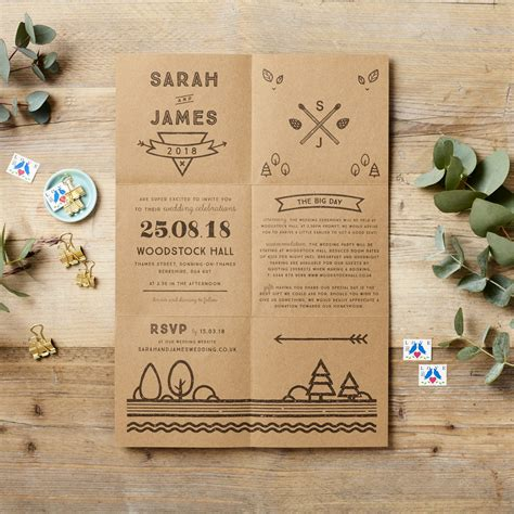 wedding invite design uk rustic fold out wedding invitation poster doodlelove
