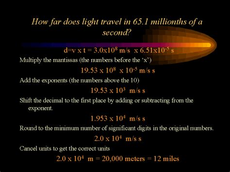 How Far Does Light Travel In A Second by How Far Does Light Travel In 65 1 Millionths Of A Second