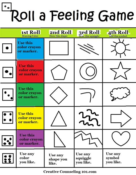 printable health board games art therapy roll a feelings game