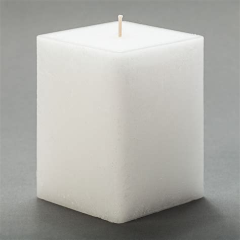 Square Candles 3x3x4 White Frosted Square Pillar Candle