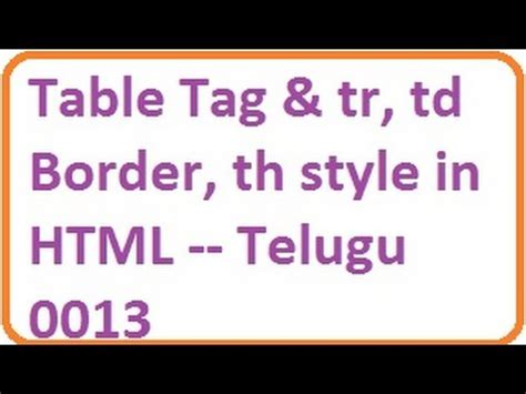 Tr And Td In Html Table Tag And Tr Td Border Th Style In Html Telugu