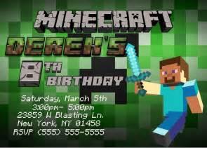 minecraft birthday invitation templates minecraft birthday invitations template