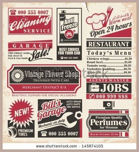 paper advertisement templates retro newspaper ads design template vector collection of