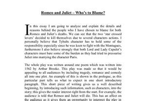 Romeo And Juliet News Report Essay by Romeo And Juliet Who S To Blame Gcse Marked By Teachers