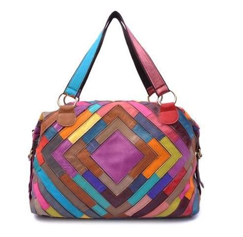 Leather Patchwork Bag - multi color tote bag purse leather patchwork handbag