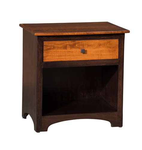 nightstand with charging station black oak finish 1 drawer 1 opening nightstand amish furniture store