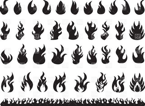 clipart vectors set of silhouettes of flames royalty free vector clip