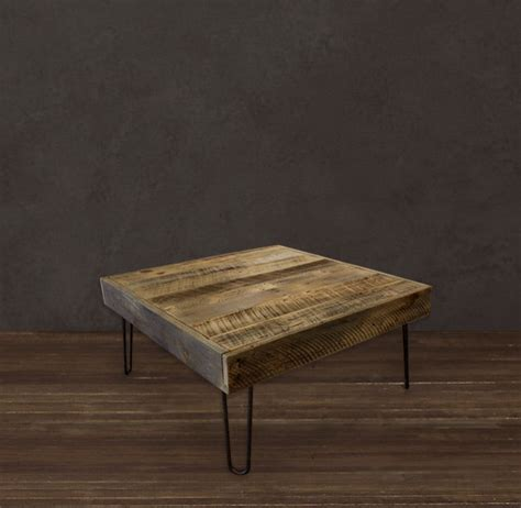 reclaimed wood square coffee table modern coffee