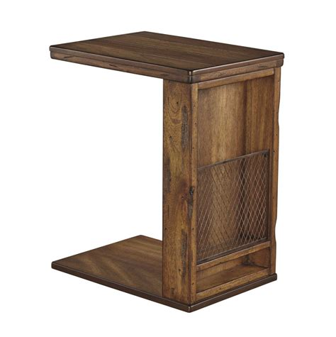 ashley furniture tamonie medium brown storage chair side  table  classy home