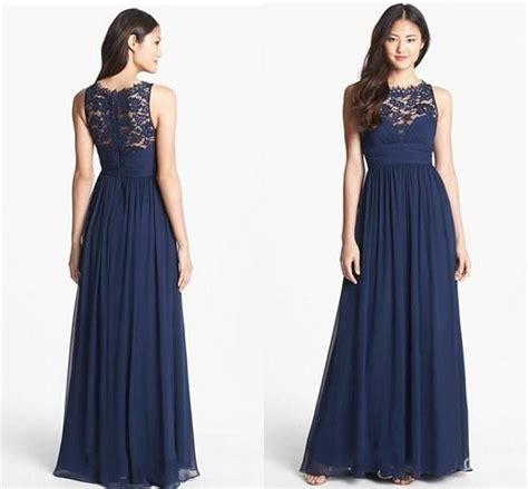 navy chiffon long bridesmaid dresses 2018 floor