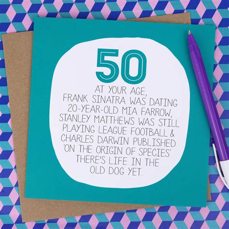 What To Write 50th Birthday Card By Your Age Funny 50th Birthday Card By Paper Plane
