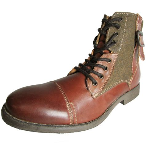 steve madden mens fragmnts leather and canvas combat boot