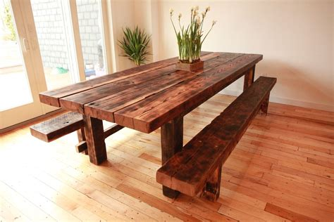 rustic dining table and bench kitchen table farmhouse style inexpensive dining room