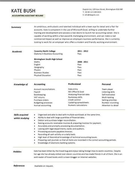 Resume Format Accountant Assistant Entry Level Resume Templates Cv Sle Exles Free Student College Graduate