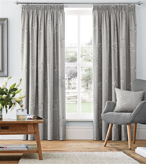 floral cotton curtains silver grey floral 100 cotton pencil pleat curtains