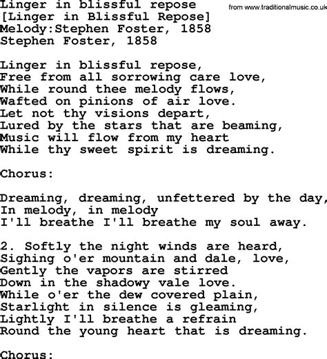 song lyrics in american song lyrics for linger in blissful repose
