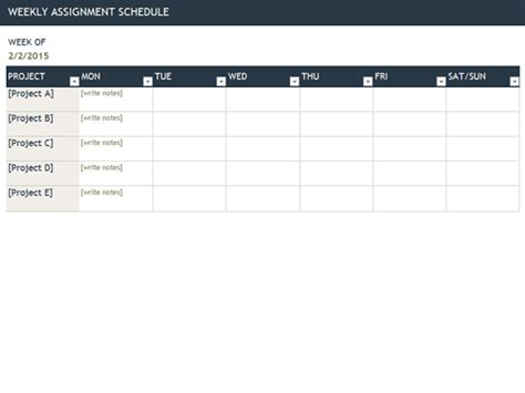 weekly assignment schedule office templates