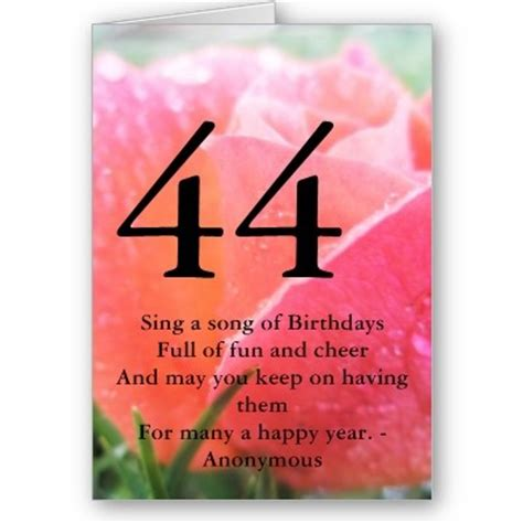 Happy 44 Birthday Wishes 44th Birthday Quote Orange Rose Greeting Card Birthdays