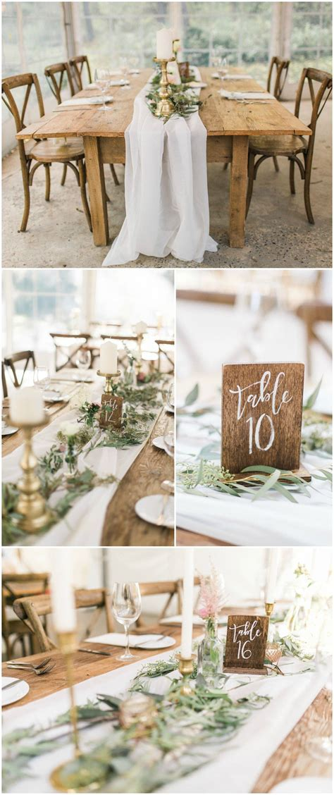 Natural wedding reception, wooden block table numbers