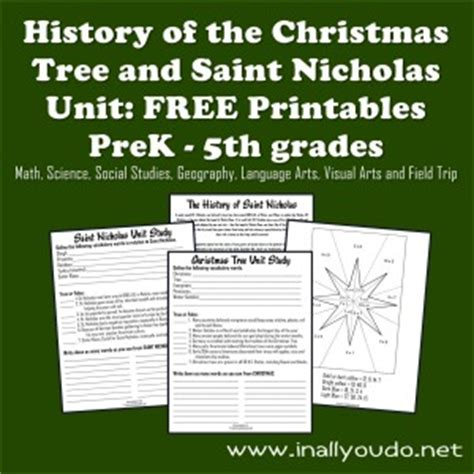free unit study history of the christmas tree and st