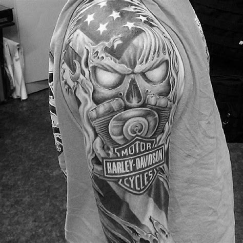 black and grey harley tattoos 90 harley davidson tattoos for men manly motorcycle designs