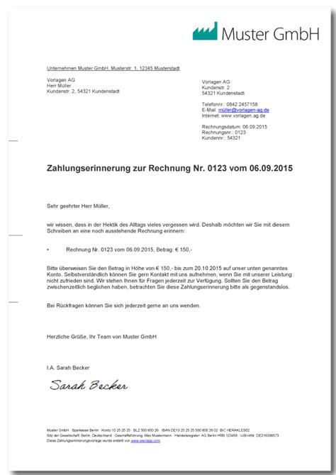 Freundliche Mahnung Muster Zahlungserinnerung Muster Vorlage Mit Erkl 228 Rung