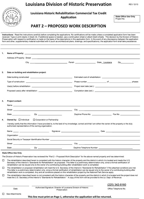 Working Tax Credit Application Form By Post State Commercial Tax Credit Division Of Historic Preservation