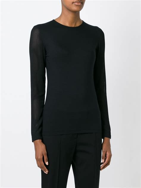 Sleeve Mesh T Shirt akris mesh sleeve t shirt in black lyst