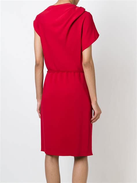 draped red dress lanvin draped dress in red lyst