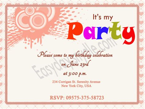 birthday invitation text templates birthday invitation wording easyday