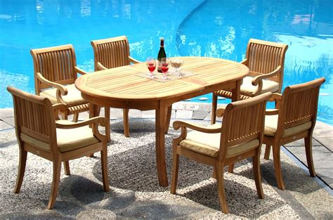 7 Pc Patio Dining Set 7 Pc Teak Dining Set Garden Outdoor Patio Furniture D03 Giva Collection Ebay