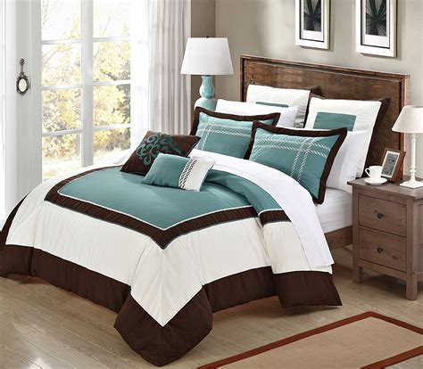 teal and brown bedding