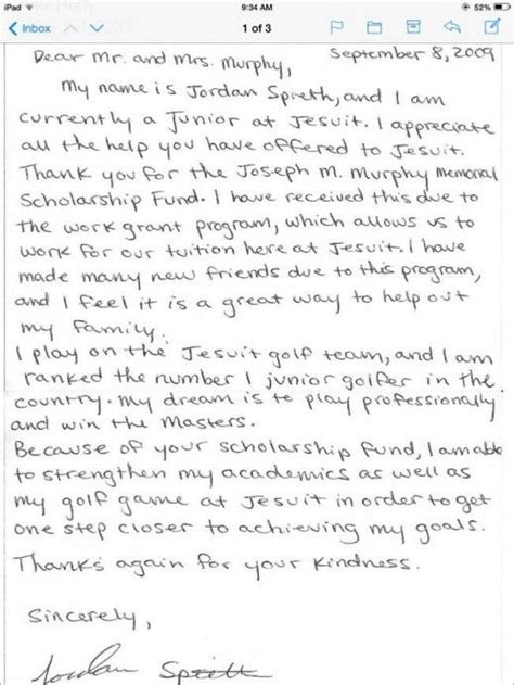 thank you letter to his parents spieth writes thank you letter to family who helped
