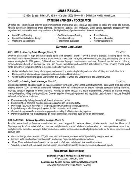 Catering Resume by Catering Resume Exle Resume Exles Catering And Resume