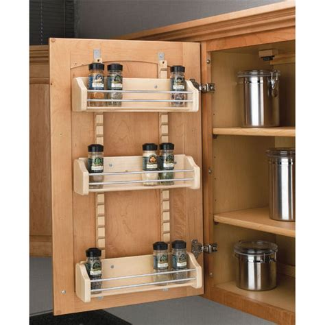 adjustable door mount spice rack maple wood available