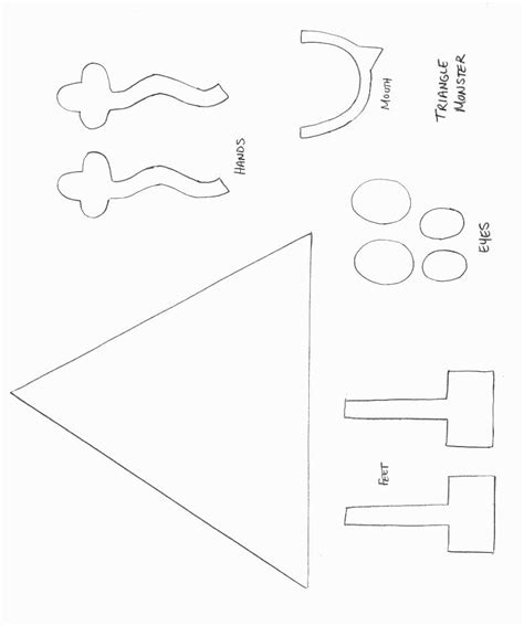 shapes crafts print your triangle monster template all