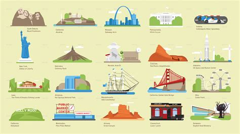 map of usa landmarks usa vector map and us landmark icons by dem g graphicriver