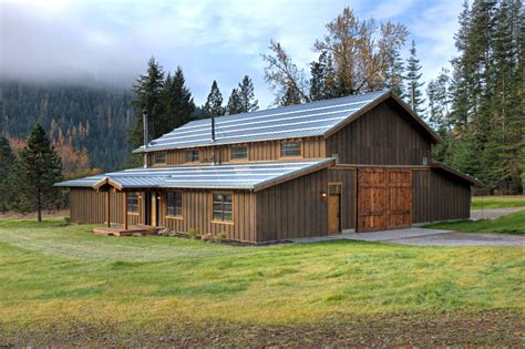 Barn Styles by Pole Barn House Plans Exterior Rustic With Dark Wood