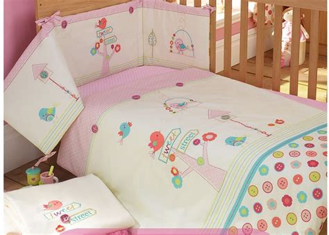 Baby Pink Cot Bedding Sets Pink 100 Cotton Embroidery Bird Flowers Baby Bedding Set Quilt Pillow Bumper Bed Sheet 5 Item