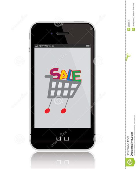 mobile phone shopping mobile phone with shopping cart vector