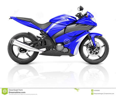 3d Image Of A Blue Modern Motorbike Stock Illustration
