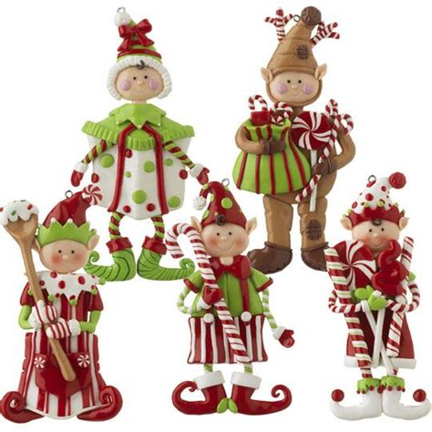 christmas elf clay dough ornament set cute set of 5