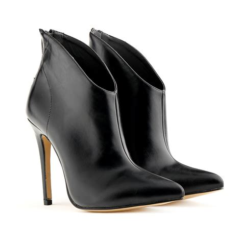 high heel leather ankle boots 11cm high heel pointed toe faux leather ankle boots for