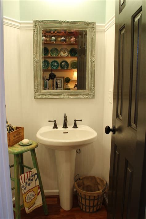 farmhouse style bathrooms farm style powder room shabby chic bathroom atlanta
